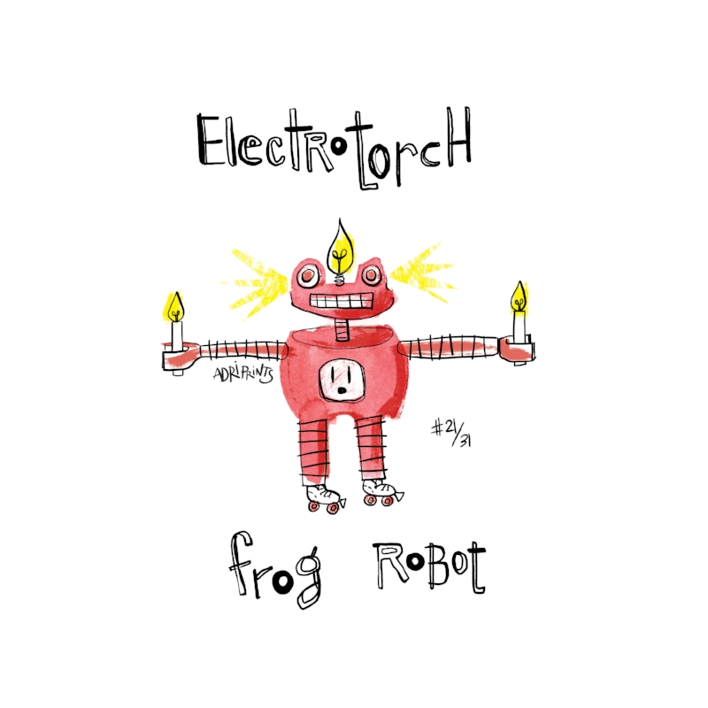 Ode to Electrotorch, a robot frog. Twinkle, twinkle little star. What, I wonder, the heck you are? Upon closer inspection I can see. You are an electro-torch-robo-light-party.