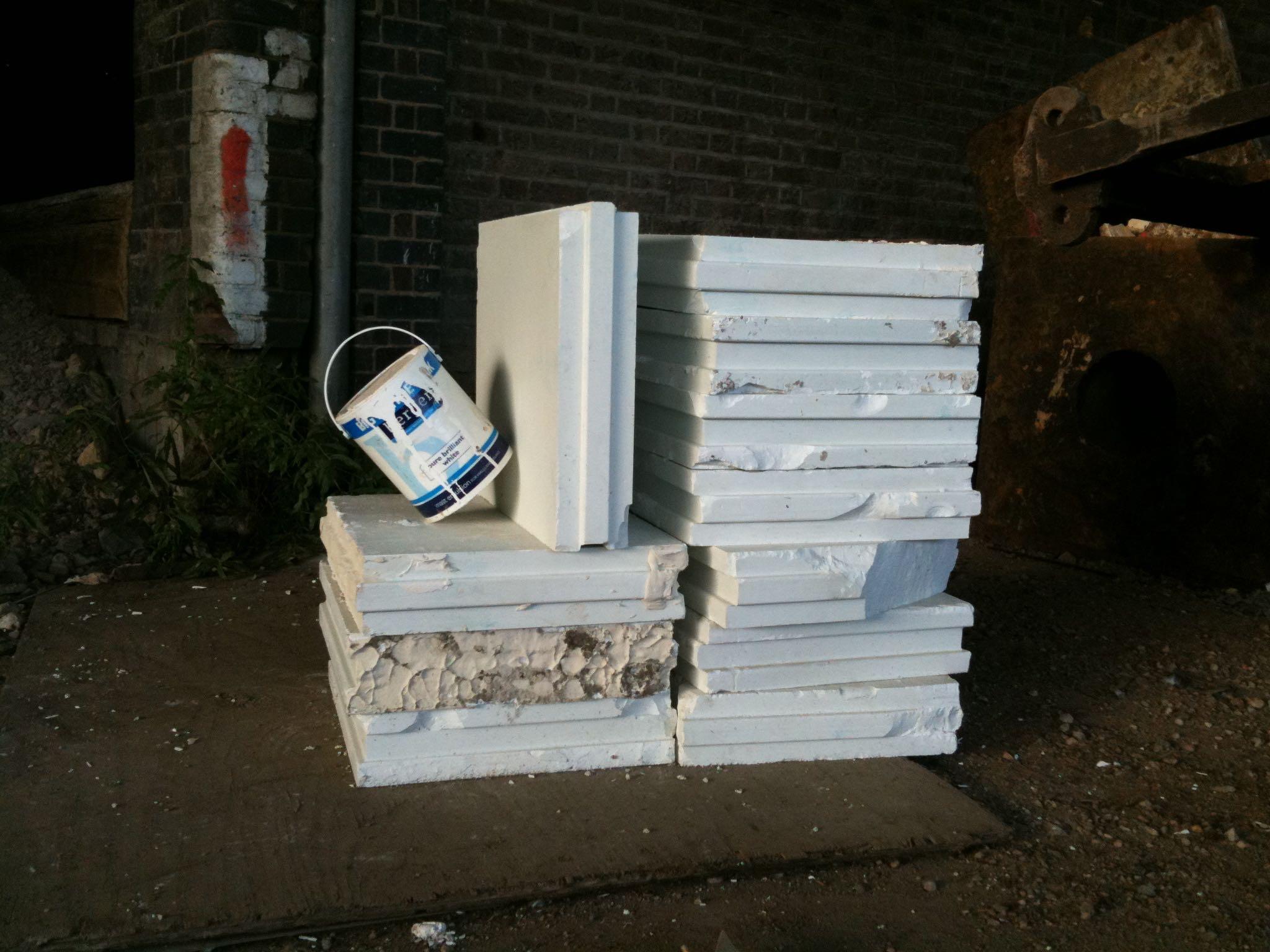 LXXXVII Equalibrium (plaster blocks and paint pot).jpg