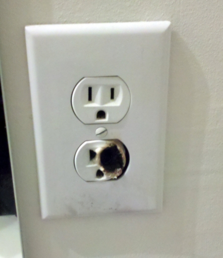 Fortunately, this outlet, which was in an older home, didn't kill anyone.