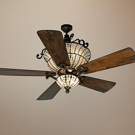 """54"""" Craftmade Cortana In Peruvian With Crystal Ceiling Fan"""