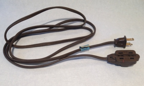 A cord like this one is suitable for light duty, such as an electric pencil sharpener.