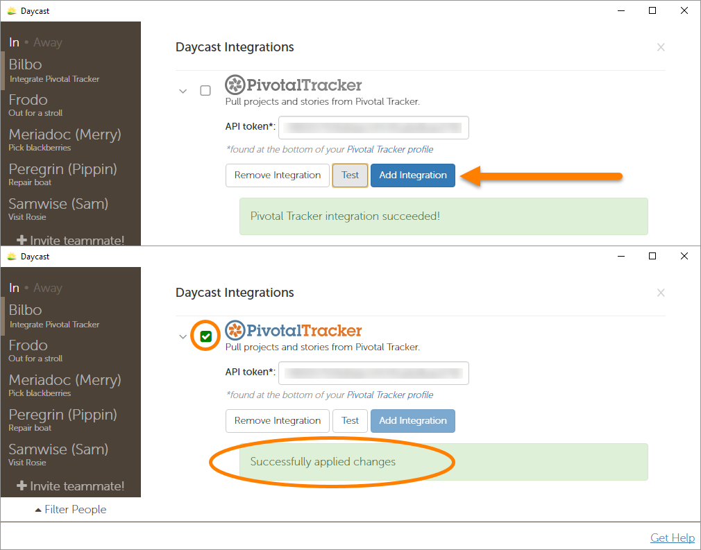 Daycast Integrating with Pivotal Tracker