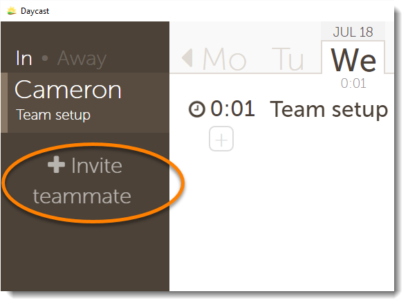 invite teammates to Daycast