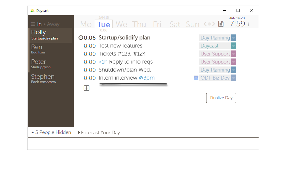 Calendar items are visible to your team in their accepted state.