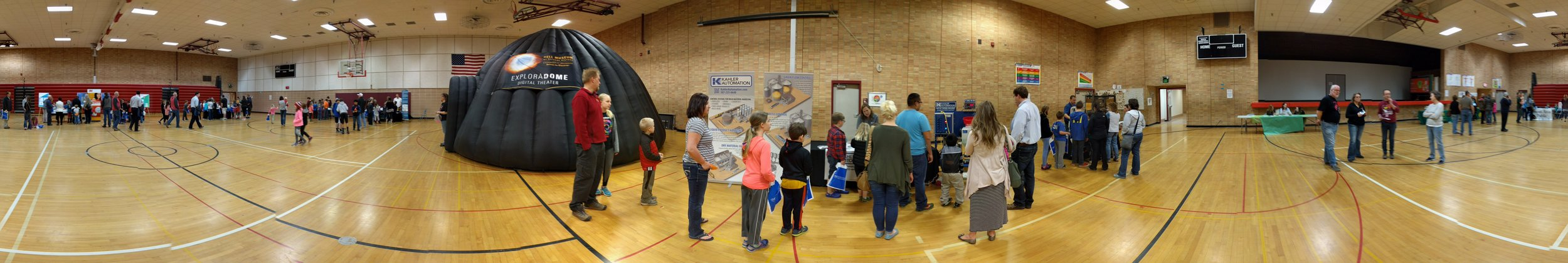 "A panoramic view of all of the ""Putting STEAM into STEM"" activity at Five Lakes Elementary."