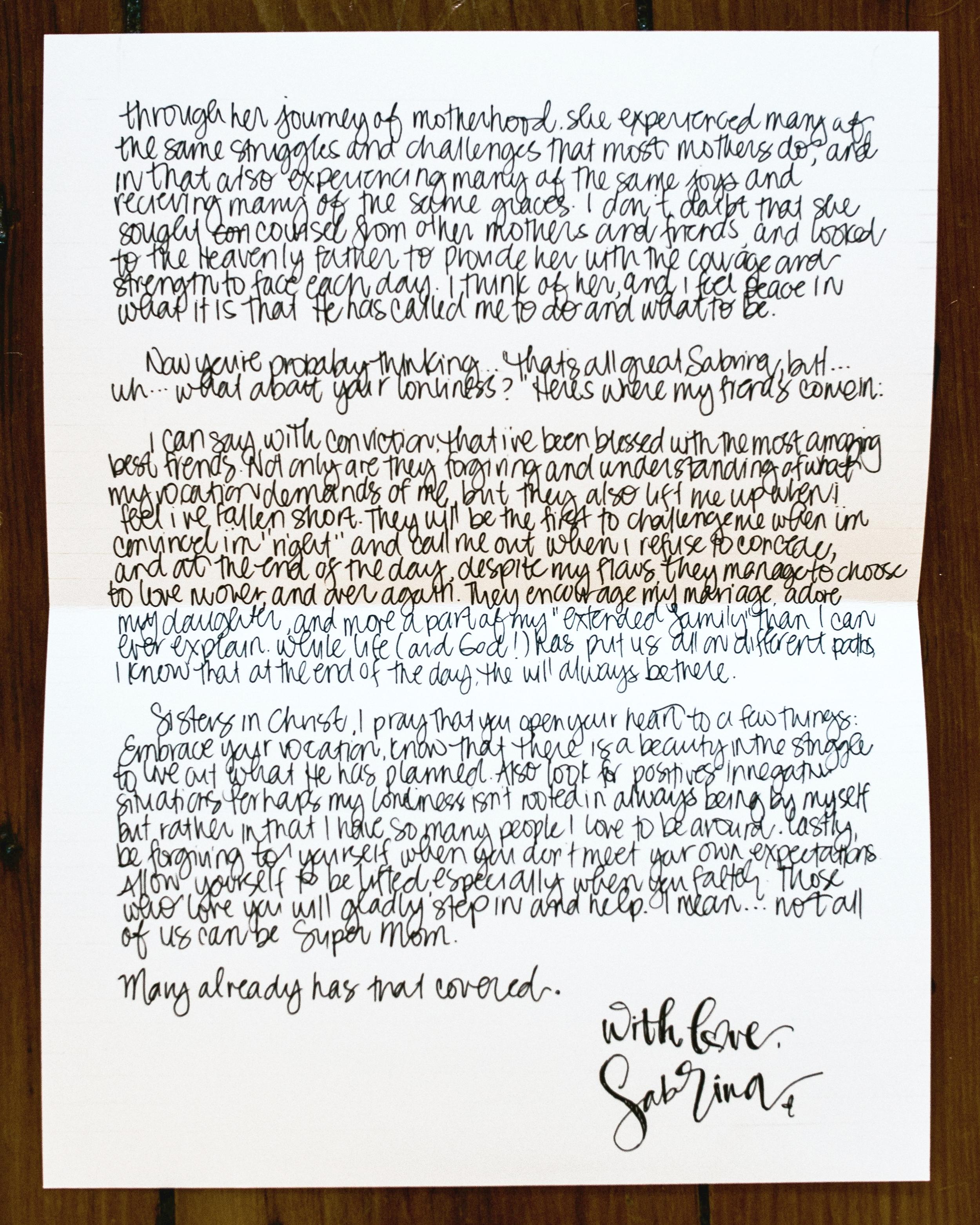 Sabrina Cerdenola Letter to Women the Catholic Woman 2