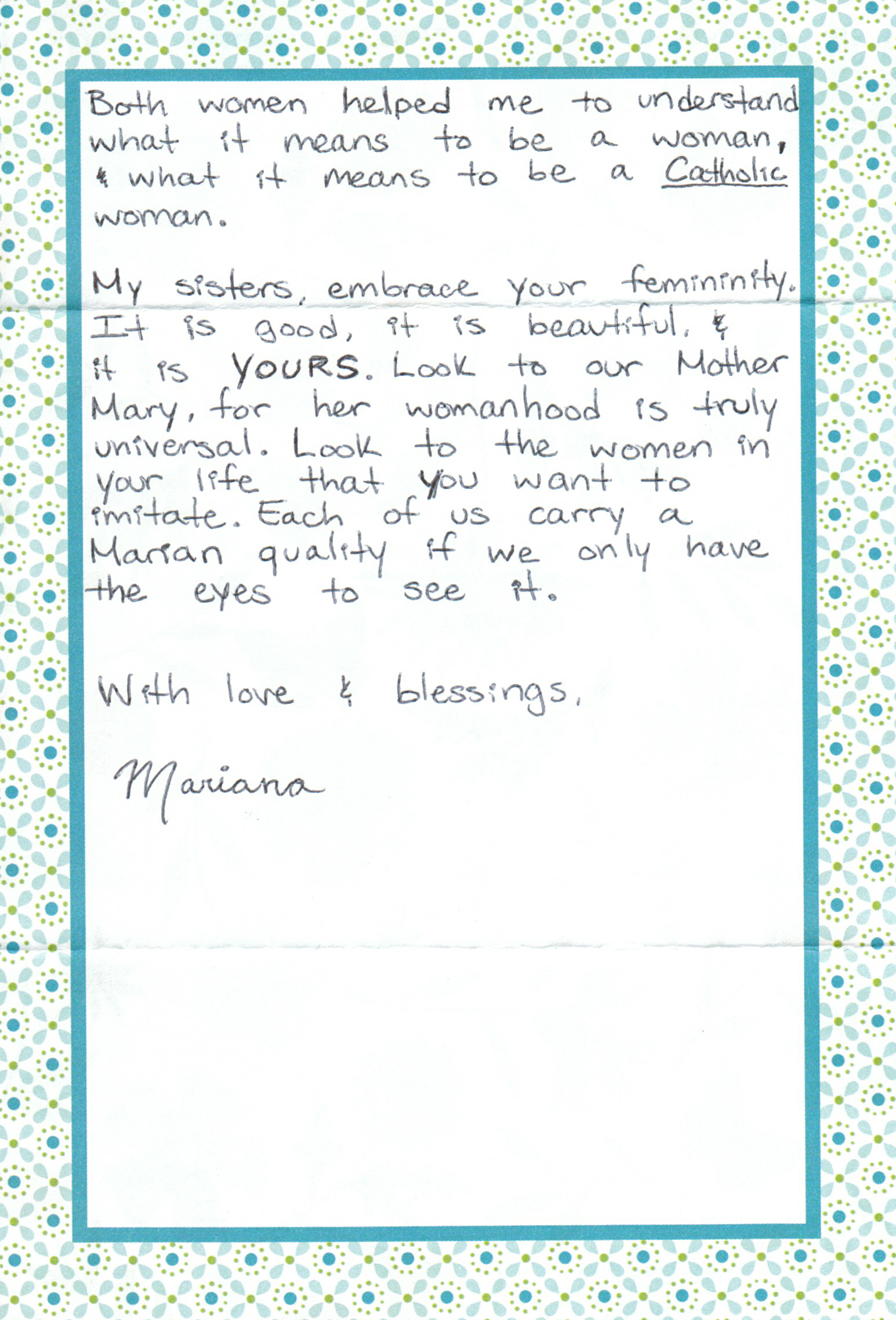 Mariana Flores Letter to Women The Catholic Woman 3