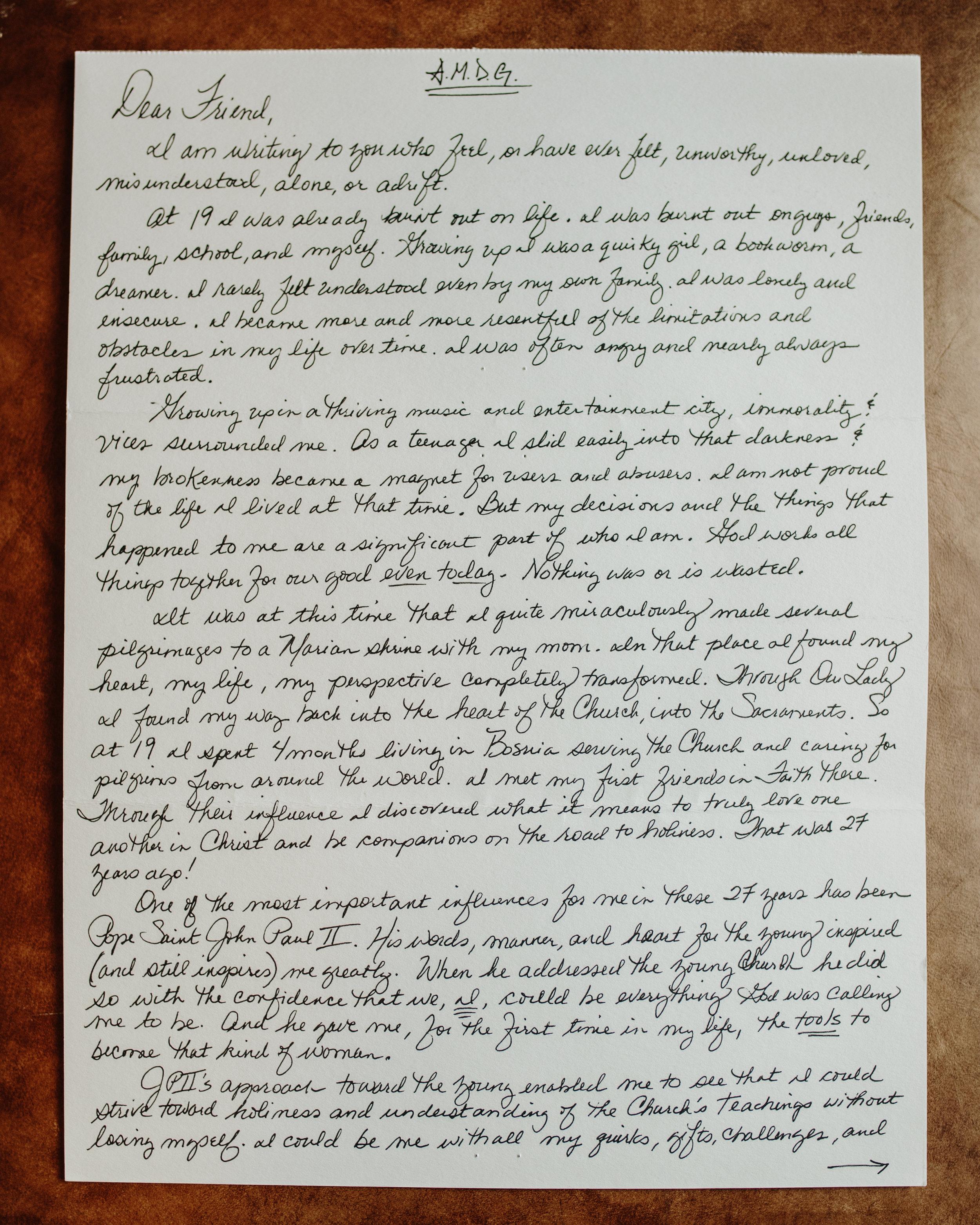 Christine Baglow The Catholic Woman Letter to Women 1
