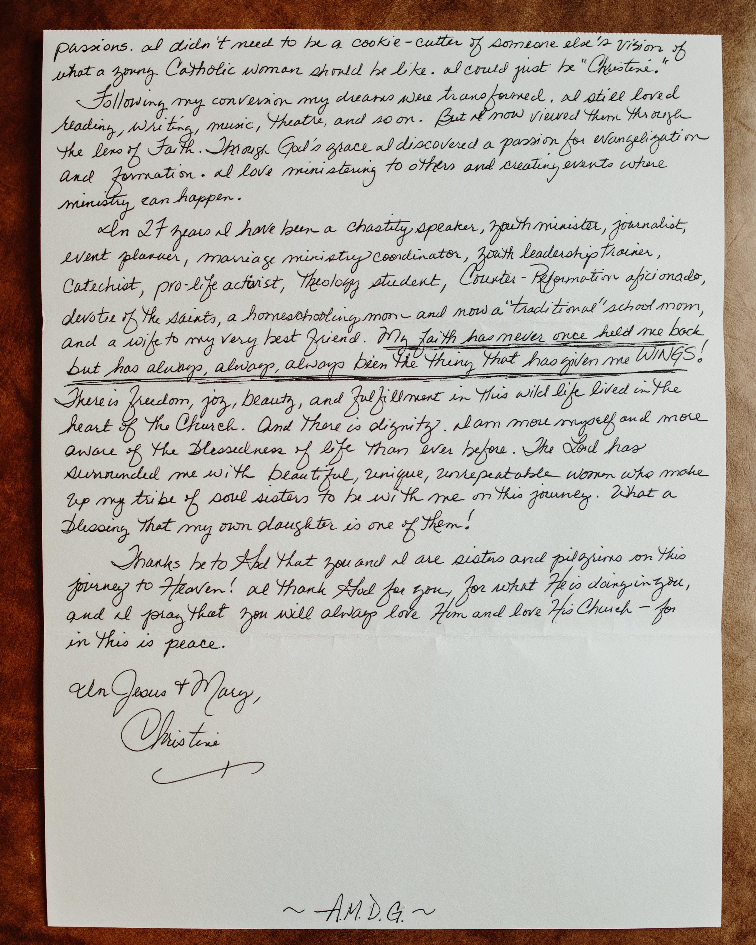 Christine Baglow The Catholic Woman Letter to Women 2
