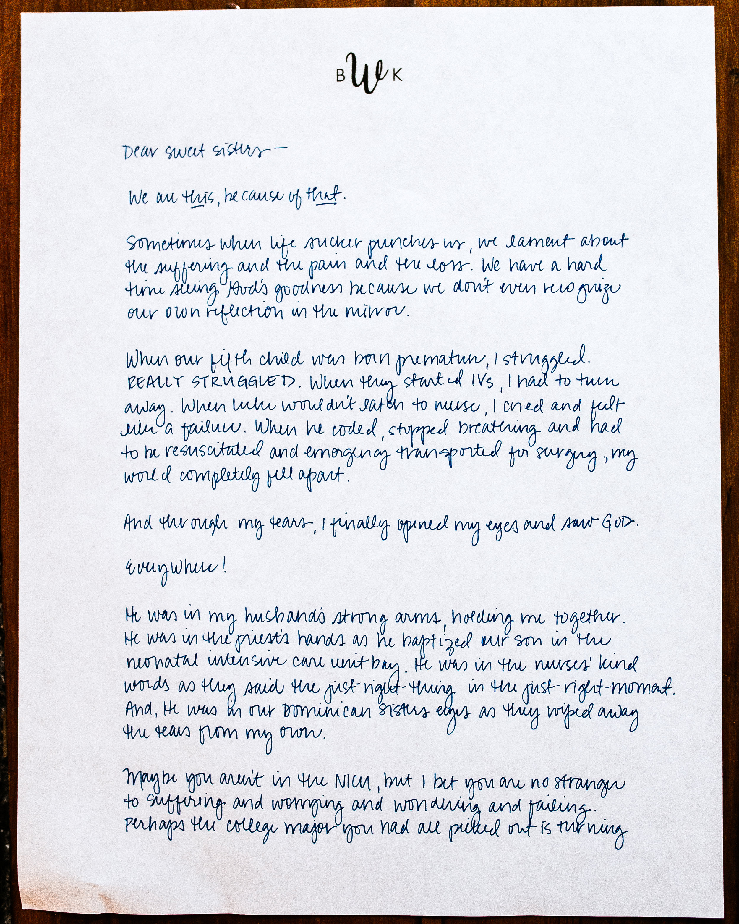 Kathryn Whitaker Letter to Women 1