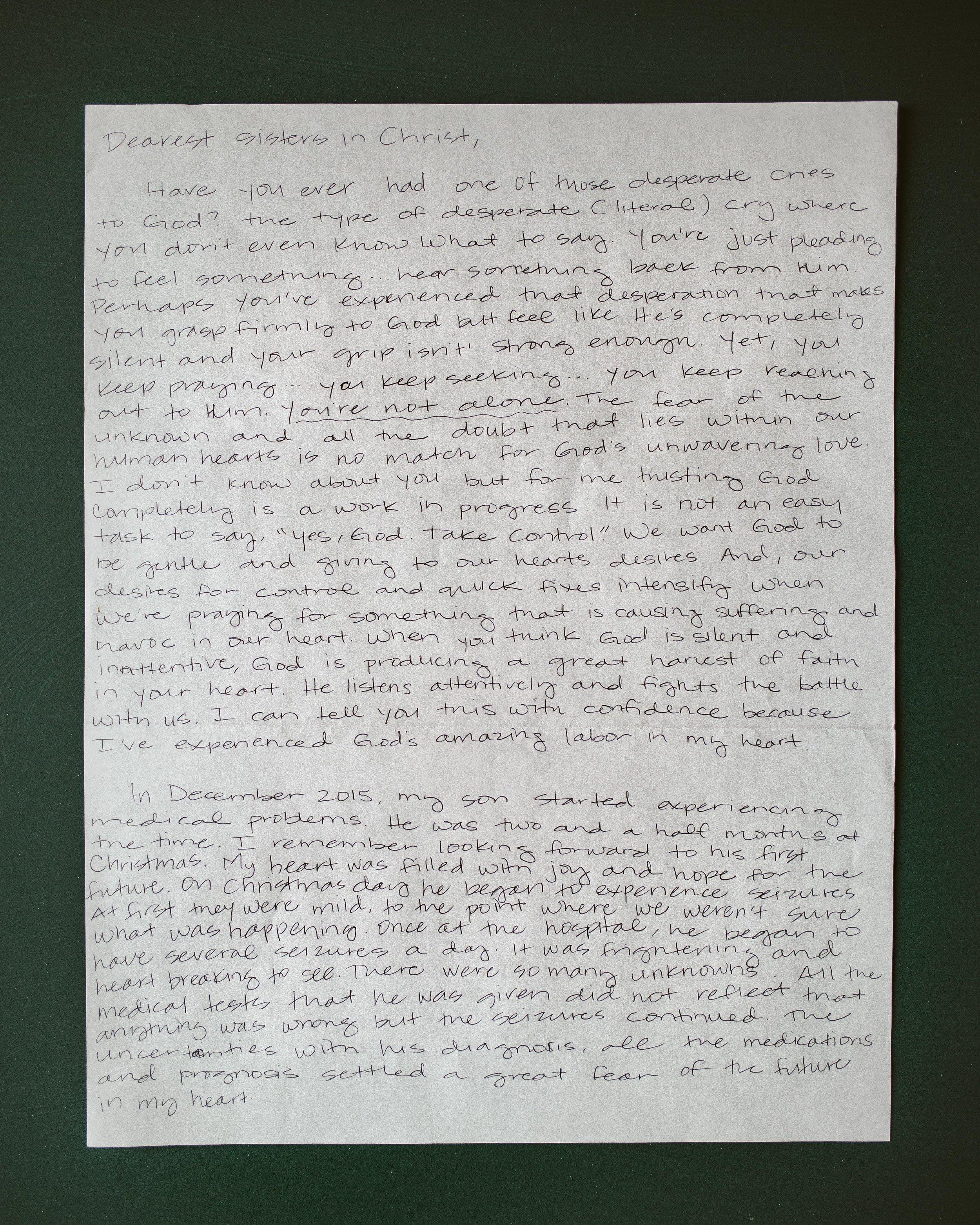Wendy Castillo Letter to Women 1