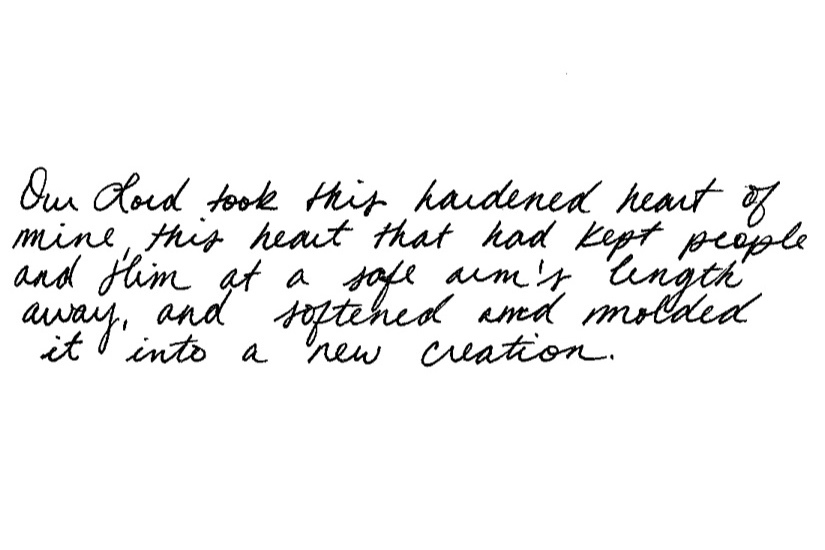 Handwritten quote from the writer