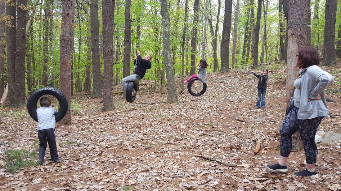 The tire swings are a big attraction for members of the Macomber Center for Self-Directed Learning in Framingham, Mass.