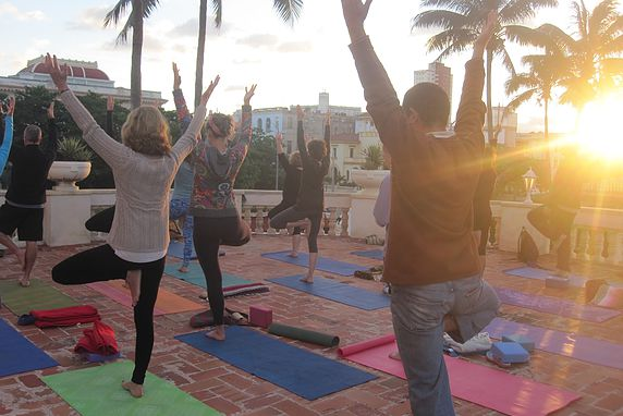 Outdoor Morning Yoga in Habana (tree pose) — 2015
