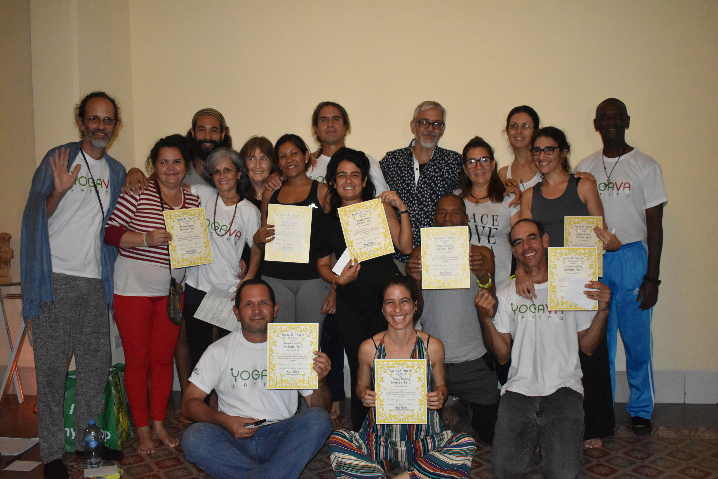 Yoga Va Cuba receiving Certificates of Completion of the 625 hour Faraway Teacher Training with Mary Paffard!