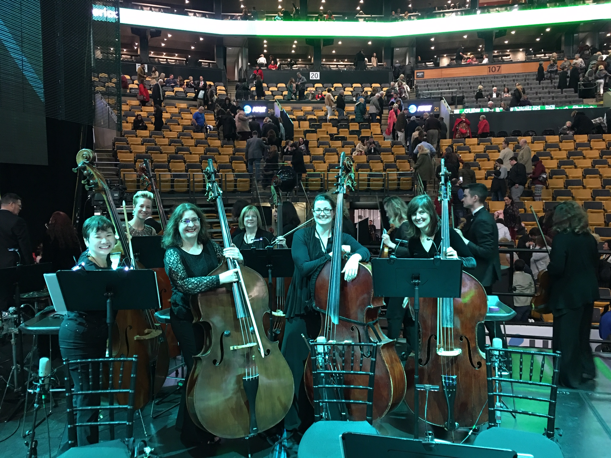 """Andrea Bocelli """"Boston Festival Orchestra"""" bass section (L-R): Carion Chu, me, Pascale Delache, Kevin Ann Green, Julianne Russell, Colleen Ruddy"""