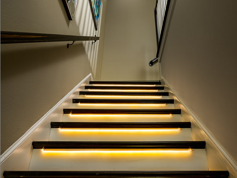 Circadian Stair Lights - The stair light uses engineered spectrum to correct the circadian disruption within the built environment. Thus, promoting the bodies natural response after sunset preparing one for sleep