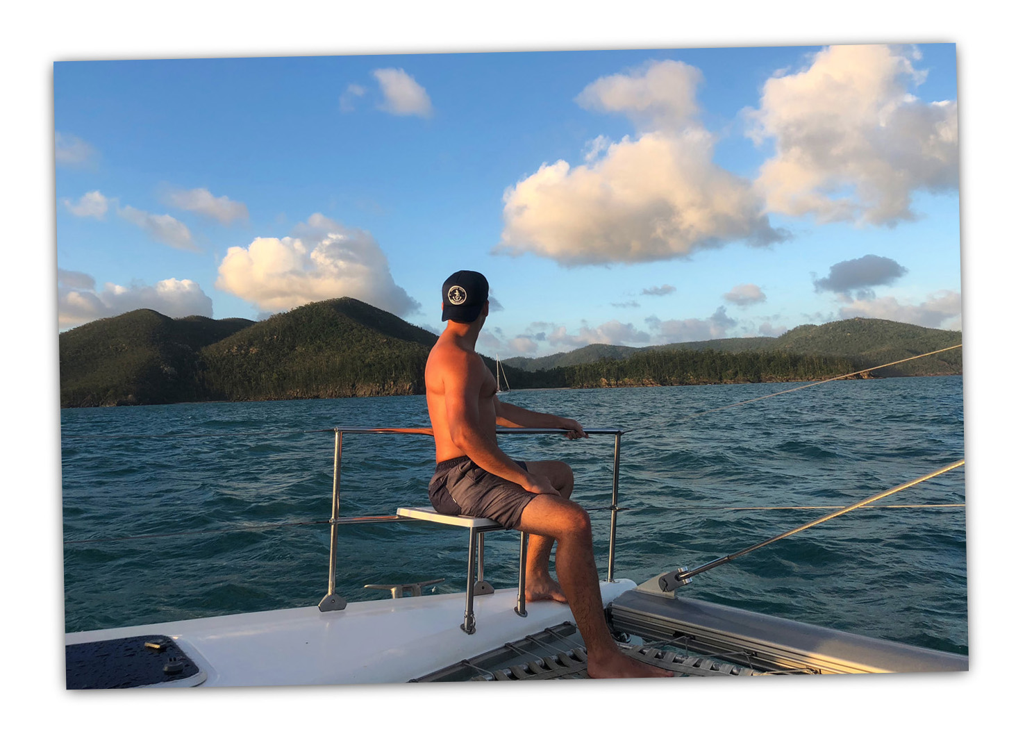 Sailing through the Whitsundays to the Great Barrier Reef in 2018.