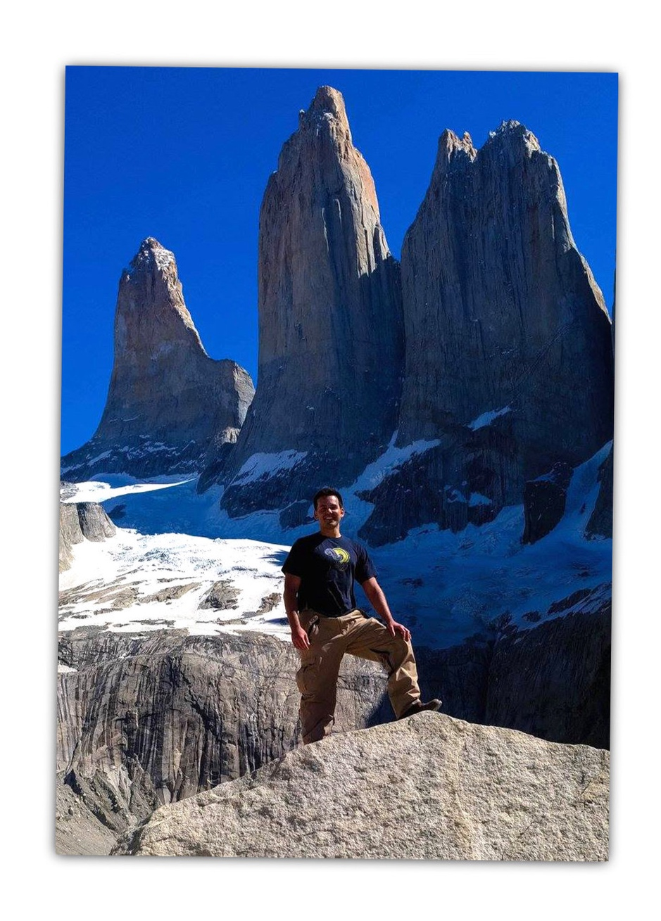 Hiking to the base of Torres del Paine in Patagonia.