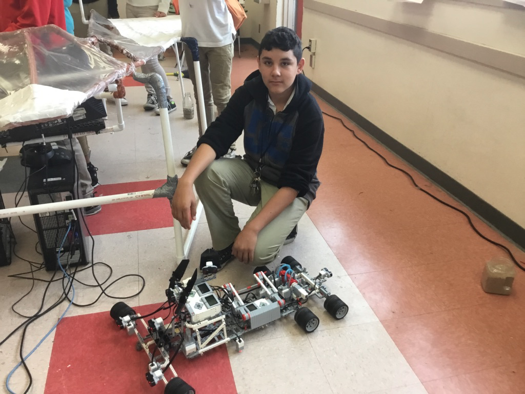 GenYES Student Tech Leader David and his rover prototype