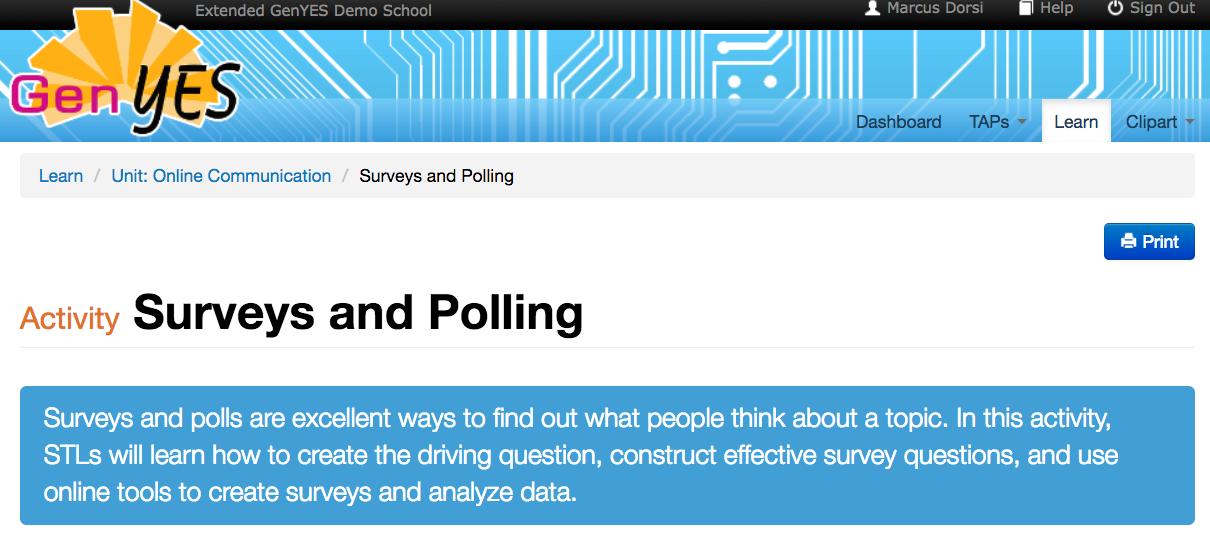 genyes curriculum surveys polling student