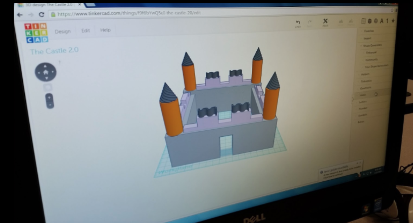 A GenYES student's 3D design in Tinkercad.
