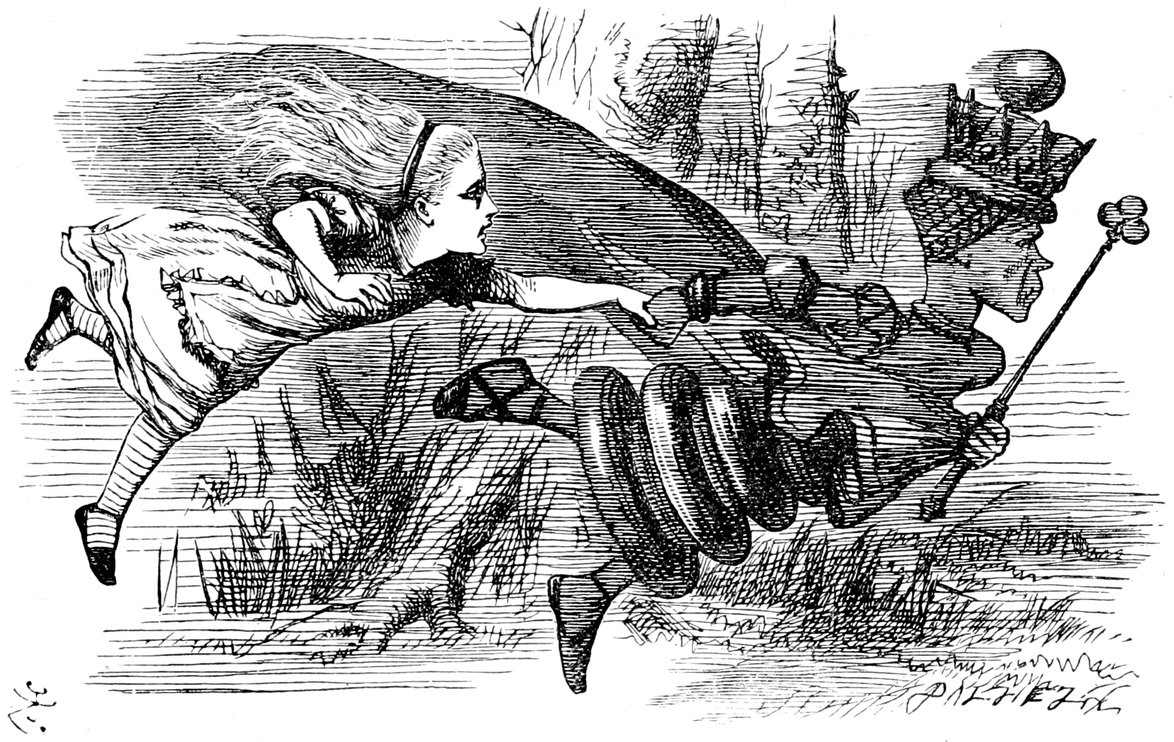 A photo of the Red Queen running while holding Alice by the hand in  Alice in Wonderland.