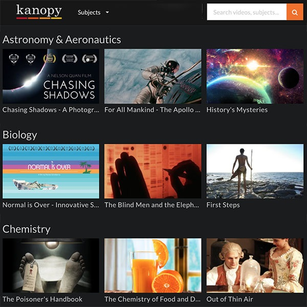 Screenshot of Kanopy Category List modified by L. Rochester 10/1/2017