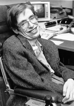 Black and white photo of Stephen Hawking in his 50s.