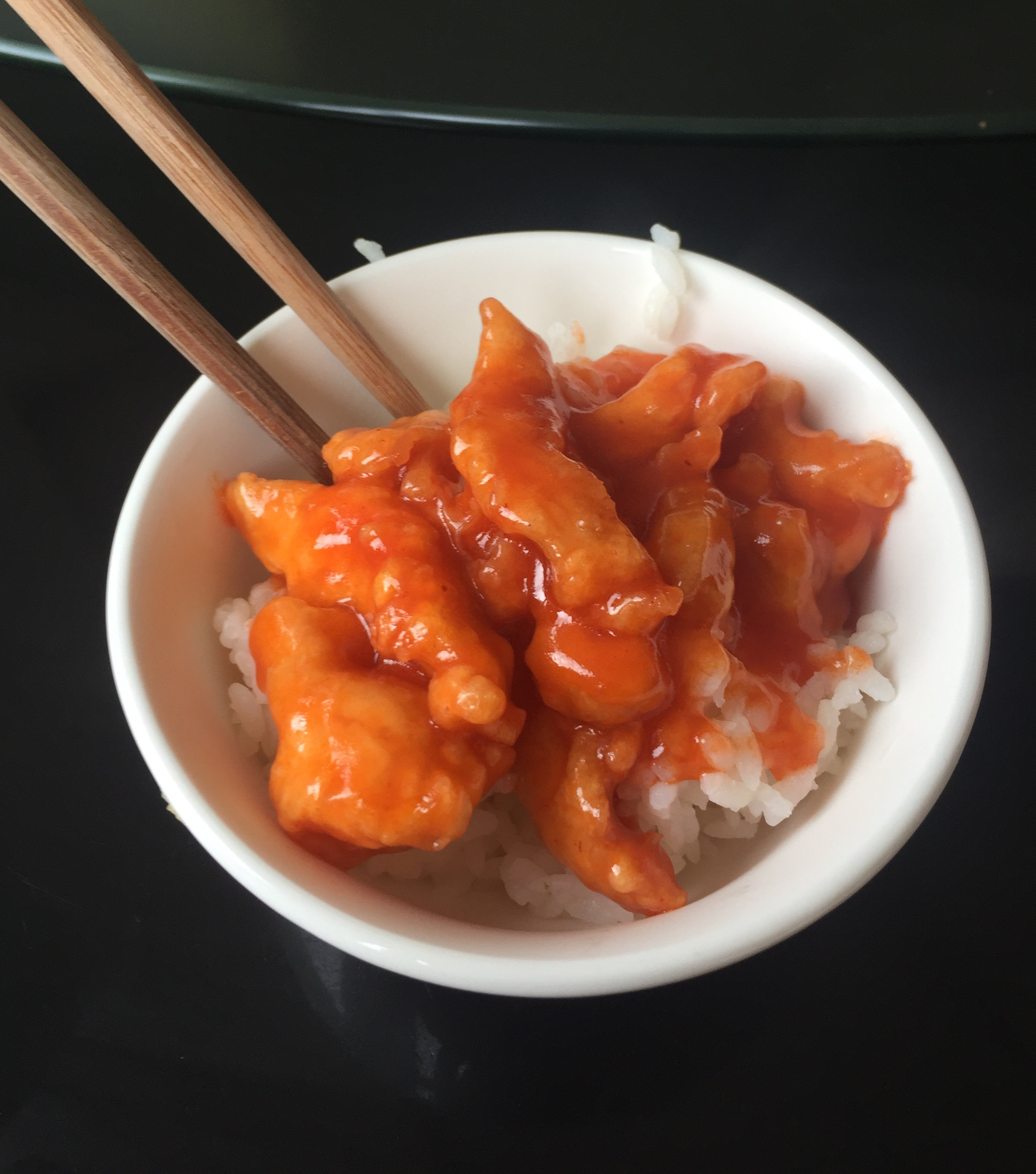 Sweet & sour chicken... by far my fav here. Can you tell how small the bowls are? Talk about portion control. LOL