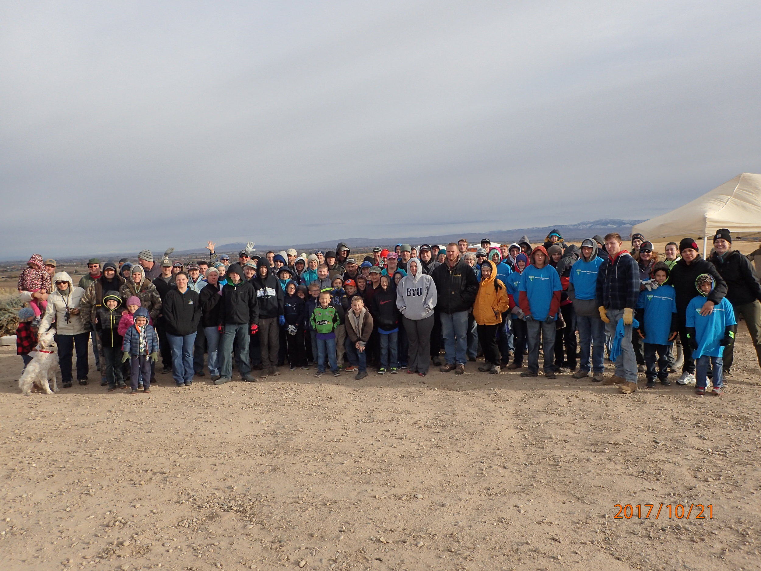 In celebration of National Public Lands Day, volunteers joined the youth from the Duck Valley Reservation for a day of restoration work at Kuna Butte.
