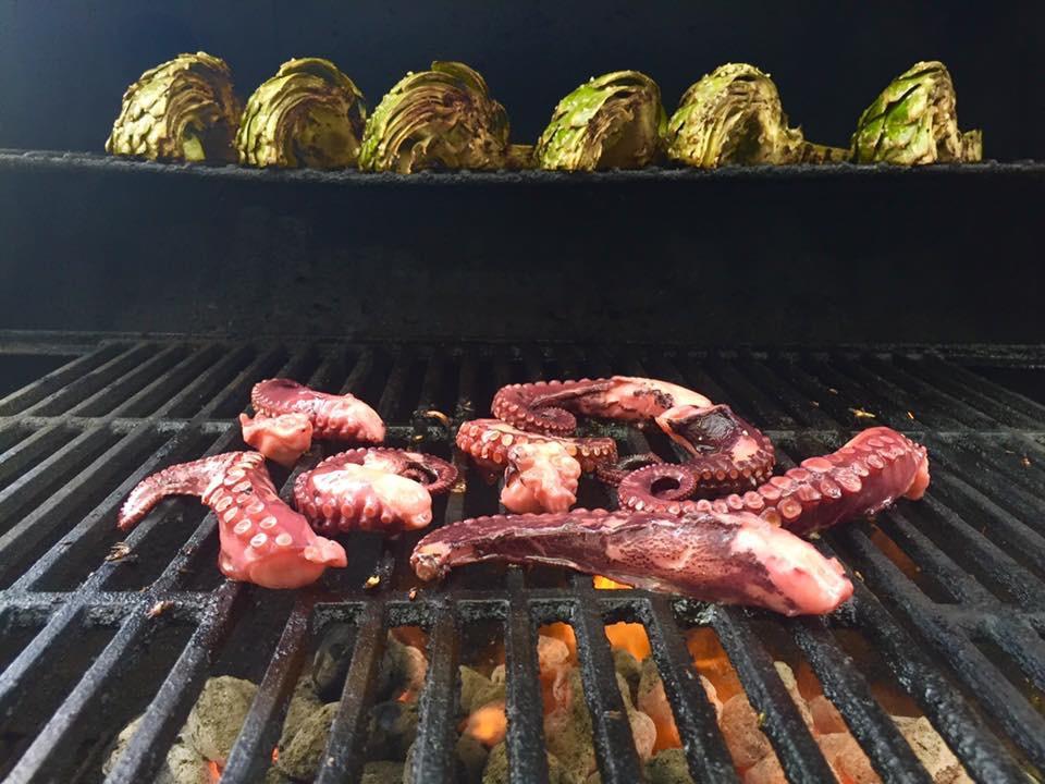 Artichoke-Octopus on grill.JPG