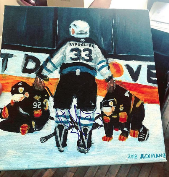 My painting signed by Dustin Byfuglien!