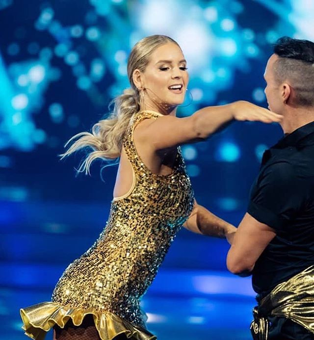 Week 2 @dwtsnz  I have been awful on social throughout the show, so be prepared now to get bombarded with all the photos I took (when I remembered to take them) 😂  The gorgeous @anna_willcox dancing with @bradmcoleman  Makeup by: @heathernewcombe.ma  Hair by: @inspired.hair  Hair and Makeup Designer: @kathgould_makeup