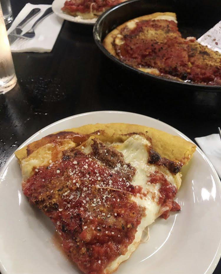 Ginos East of Chicago - Price:$$Ginos East of Chicago now has a location in Atlanta near the highlands area. This pizza company is known to have the best Chicago style deep-dish pizza, and it's really good and thick! I recommend the sausage patty pizza.