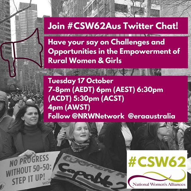 Join the #csw62 LIVE Twitter Chat tonight - Help inform #csw62aus position at the 62nd UN Commission on the Status of Women looking at the opportunities and challenges for empowering rural women and girls! @worldywca @ywcaadelaide #YWCAAlburyWodonga #YWCABrokenHill @ywcacanberra @ywcadarwin #ywcahunterregion @ywcaofperth @ywca_qld @ywca_nsw @ywcavictoria @ywcahousing