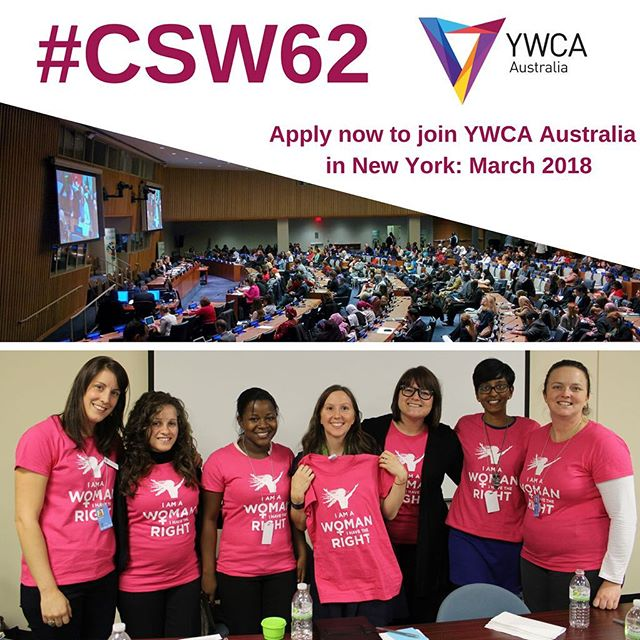 """Apply to join the YWCA Australia delegation at the @unitednations Commission on the Status of Women in New York, March 2018! The theme is """"challenges and opportunities in achieving gender equality and the empowerment of rural women and girls"""".⠀ ⠀ Join civil society organisations, experts, activists, and government reps in setting the global agenda for gender equality and the empowerment of women and girls!⠀ ⠀ Applications close Tues November 7! ⠀ For all the info check out the news section of the YWCA Australia website at ywca.org.au⠀ ⠀ #CSW62 #CSW62Aus #YWCAAustralia #WomenLeadingChange #YoungWomenRise #RuralWomenAndGirls @ywcaadelaide @ywcacanberra @ywcadarwin @ywca_nsw @ywcaofperth @ywca_qld @ywcavictoria"""