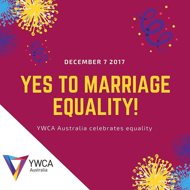 It happened! Yesterday, the Australian Parliament passed a bill to allow same sex couples in Australia to marry!⠀ ⠀ YWCA Australia celebrates this historic moment taking steps towards equality for all LGBTQIA individuals in Australia!⠀ ⠀ YWCA Australia continues to advocate for equality for women, young women and girls, and stands in solidarity with LGBTQIA communities across Australia.⠀ ⠀ #MarriageEquality #AustraliaSaysYes #Auspol 🏳️🌈🏳️🌈