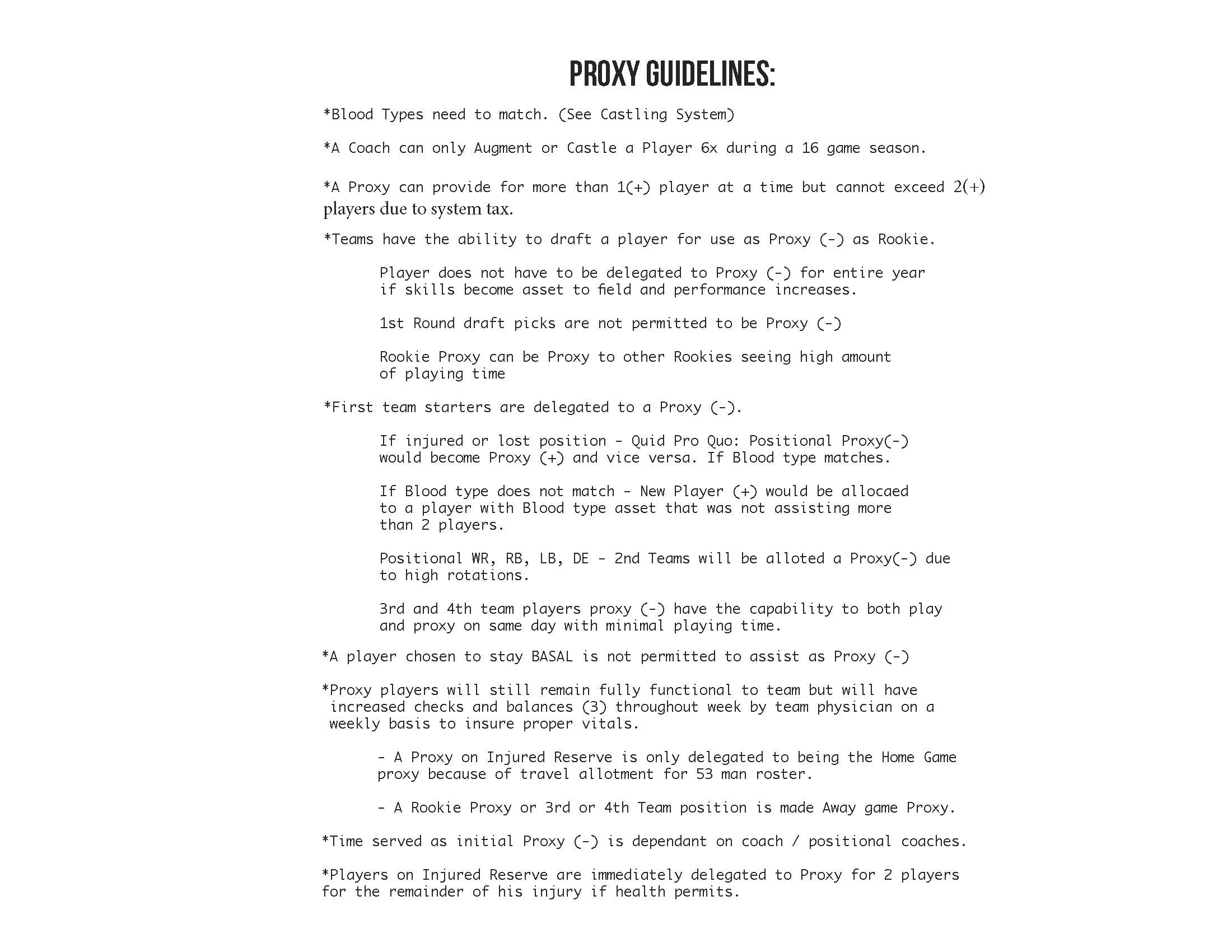 Guidelines to becoming a Proxy + Scoring