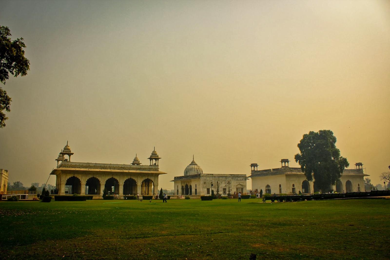 (from left to right) Diwan-i- Khas, Khas Mahal and Rang Mahal