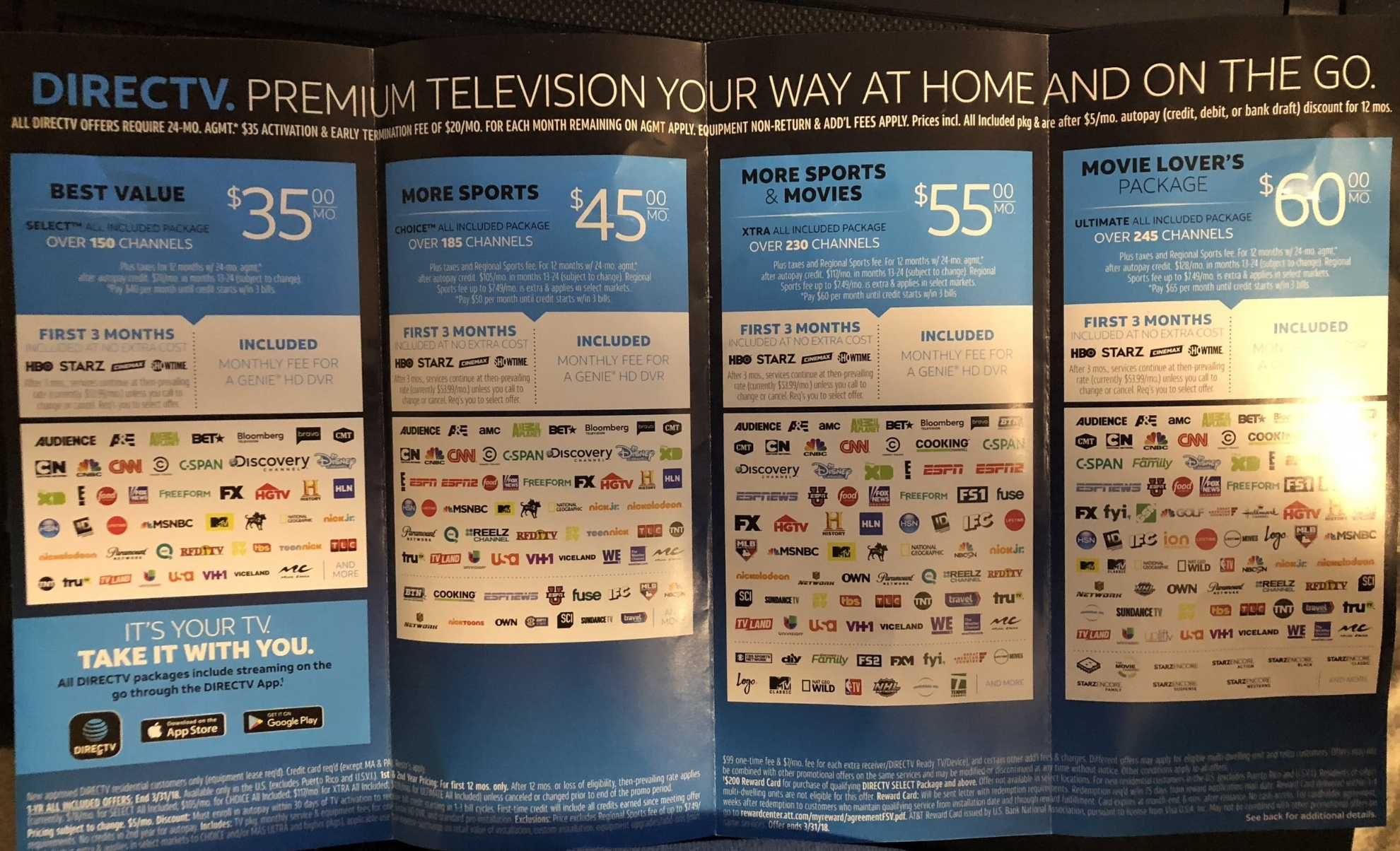 Directv at a low price more so then ever. so way not going a switching over to Directv.