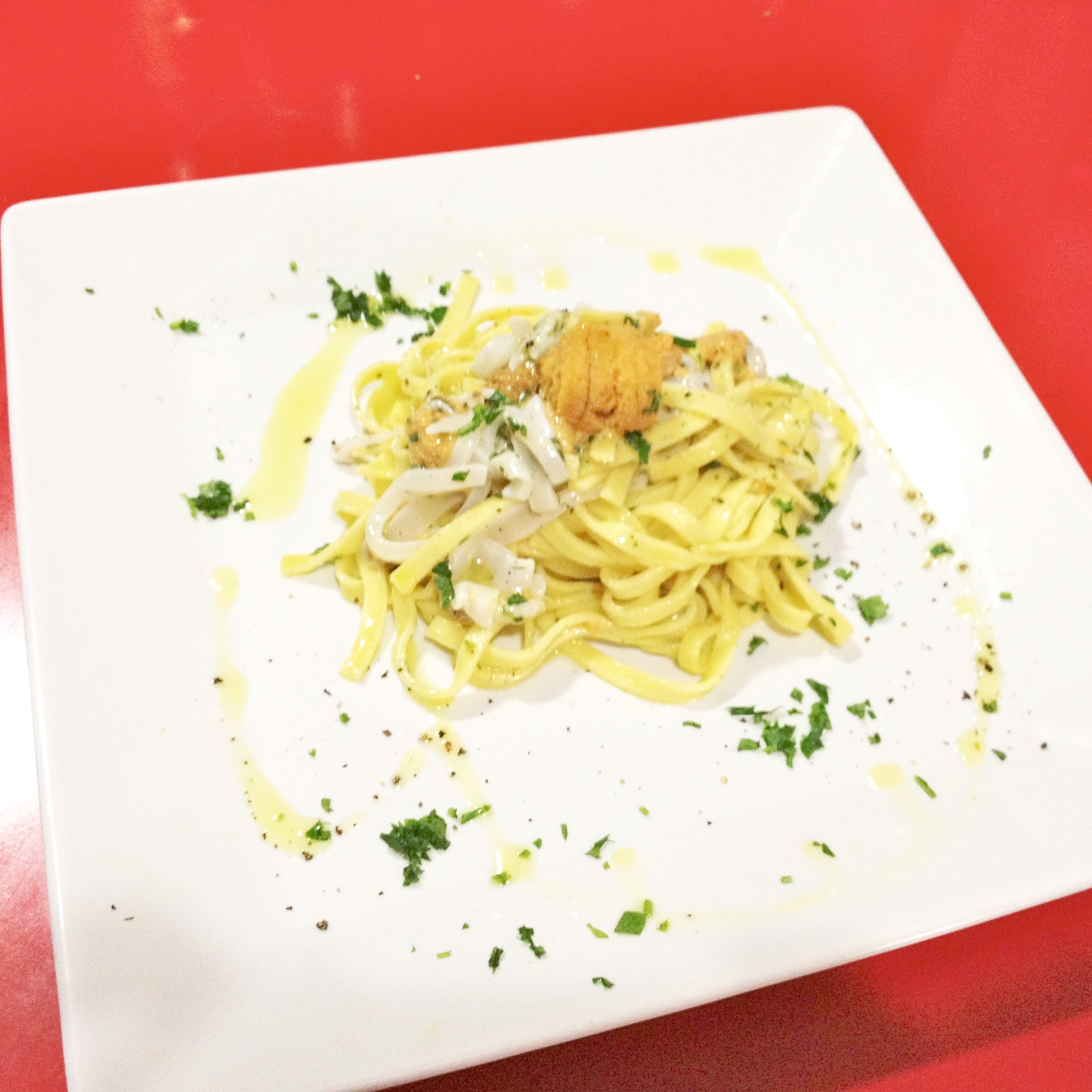 Squid Sea urchin lemon pasta
