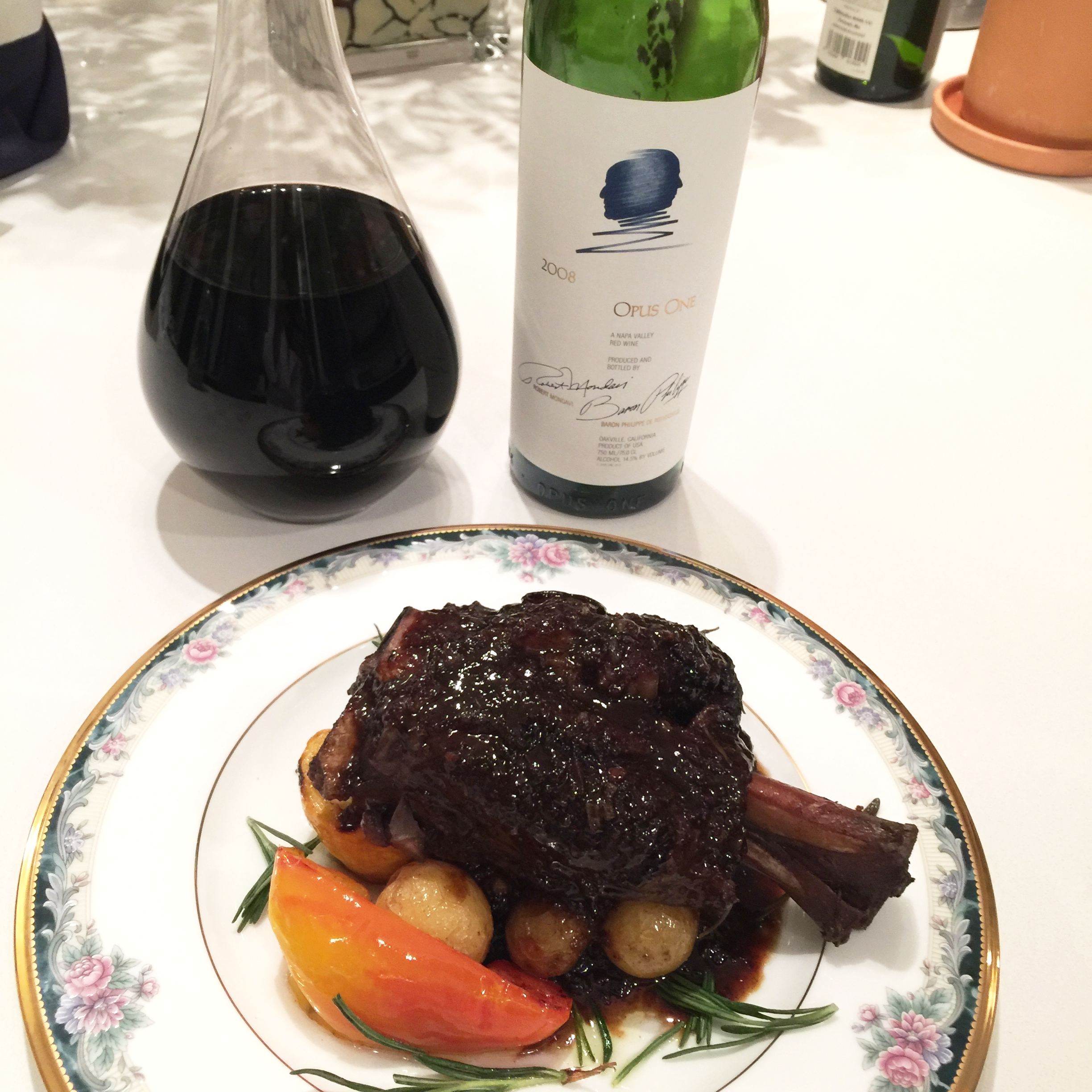 Opus One with Lamb Shank