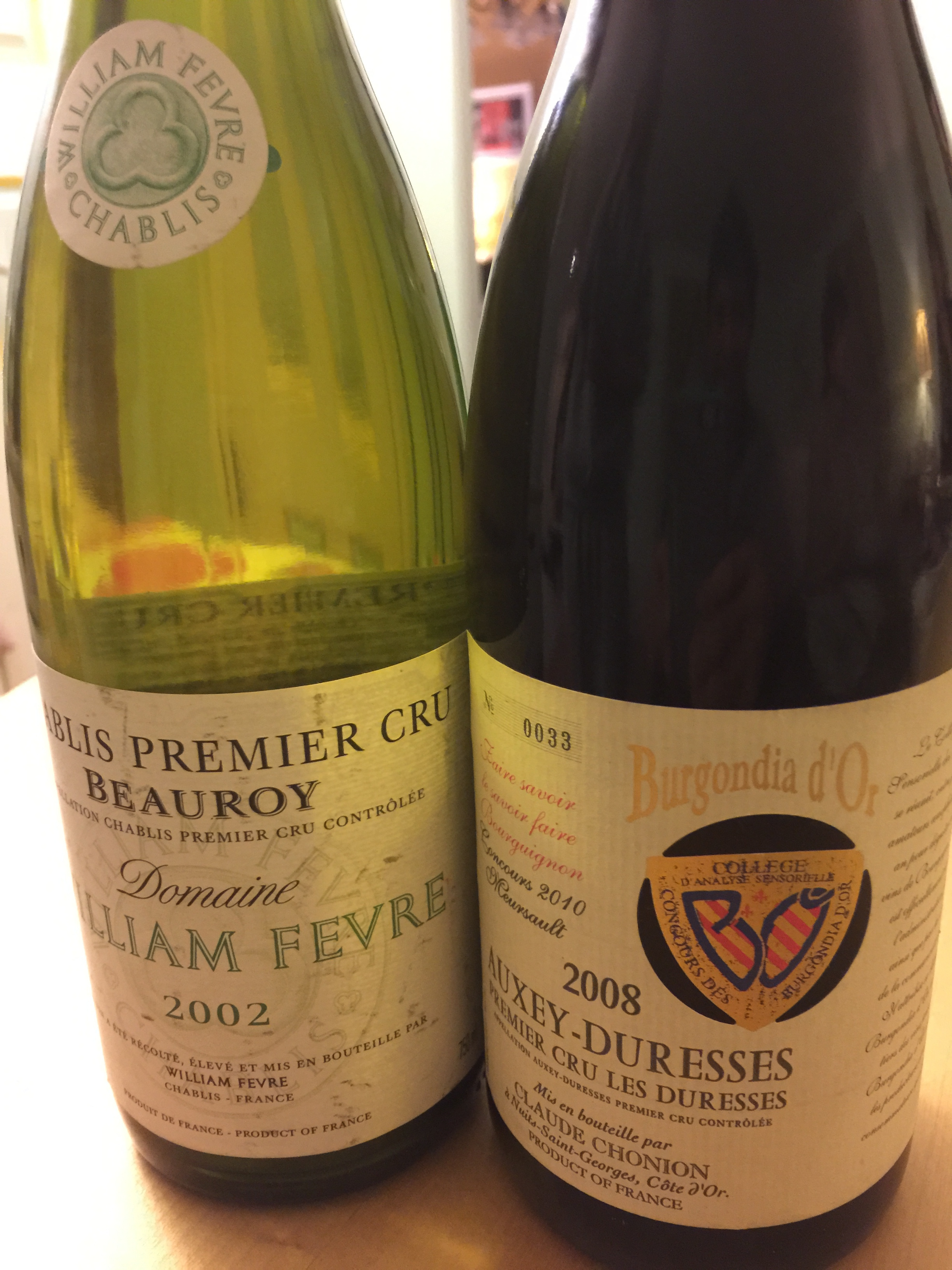 Chablis premier cru for white and Auxry-Duresses for red