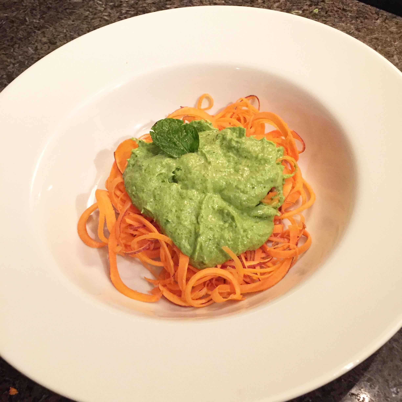 Sweet Potato Pasta with Avocado Pesto