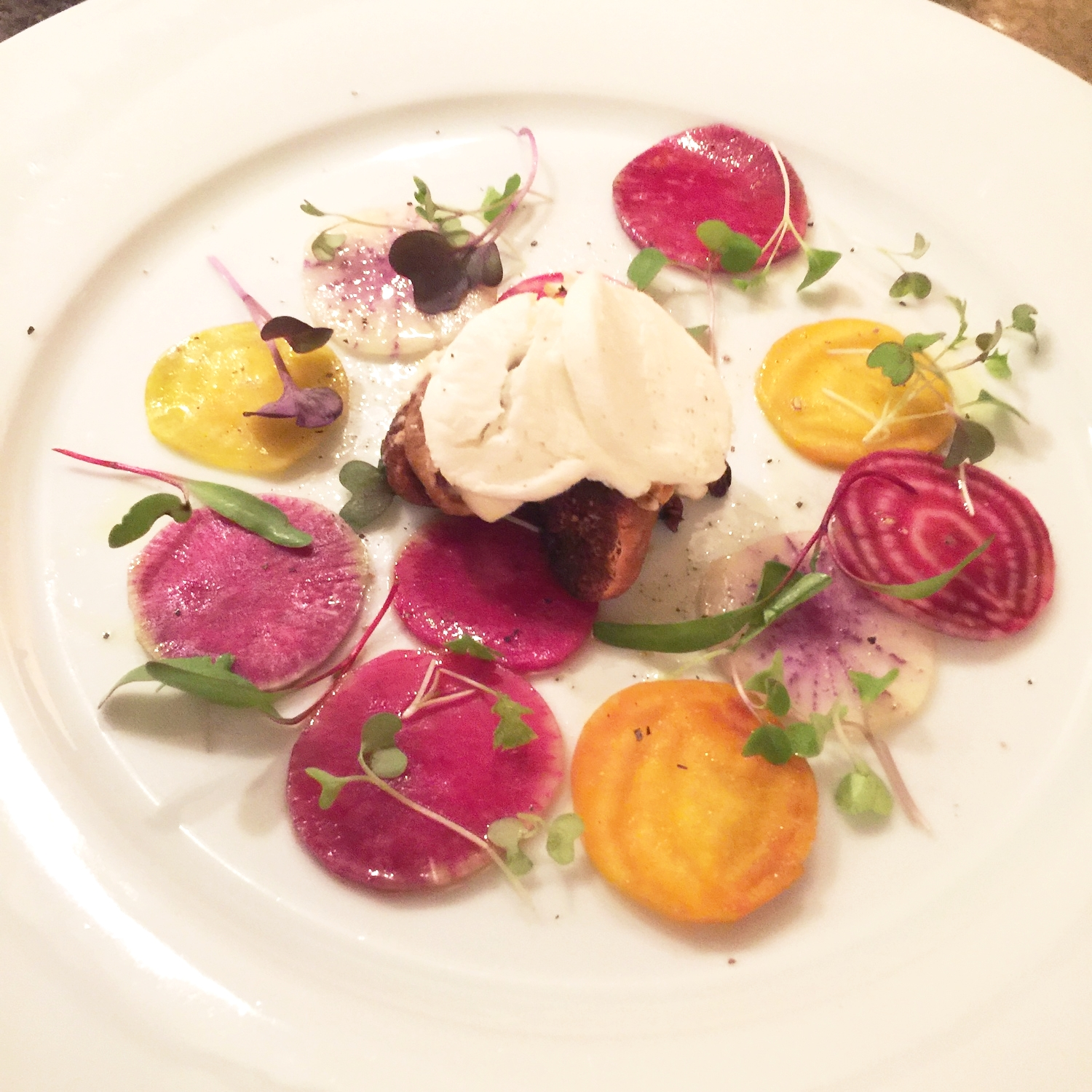 goat-cheese-and-baked-fig-with-winter-root-vegetable-salad
