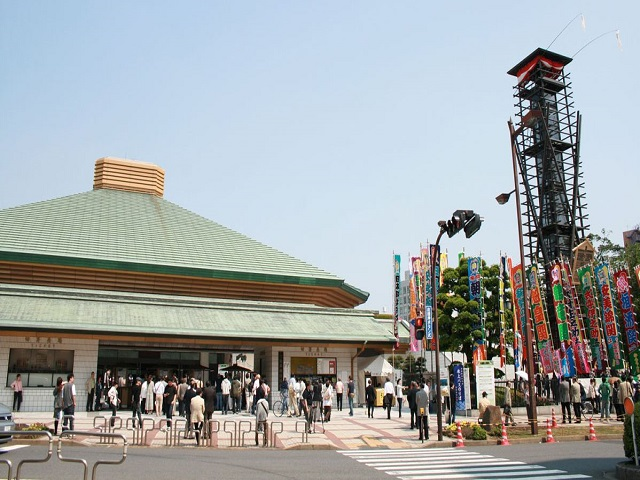 Kokugikan, the sumo stadium in the Ryogoku district of Tokyo, where tournaments are held