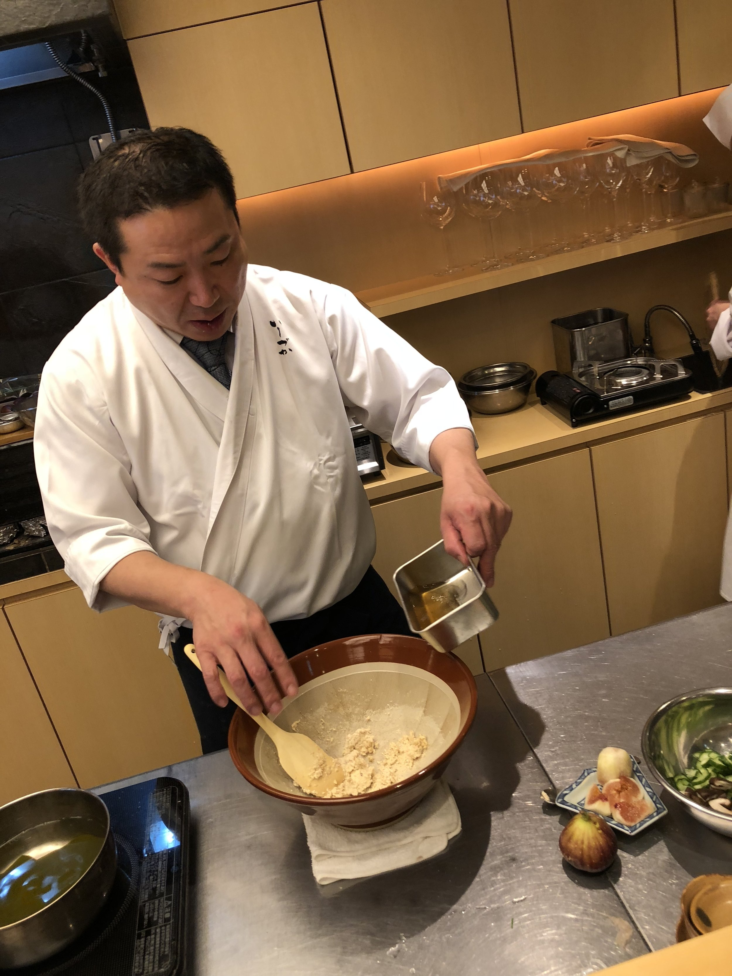 Chef Ishizuka making tofu paste
