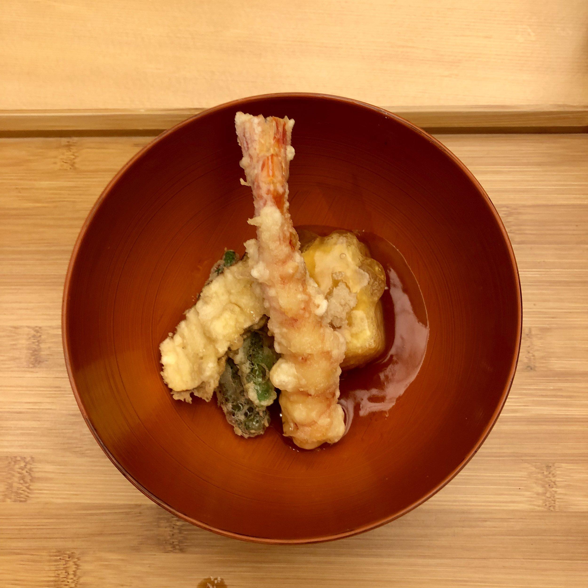Agedashi Tofu and Shrimp tempura