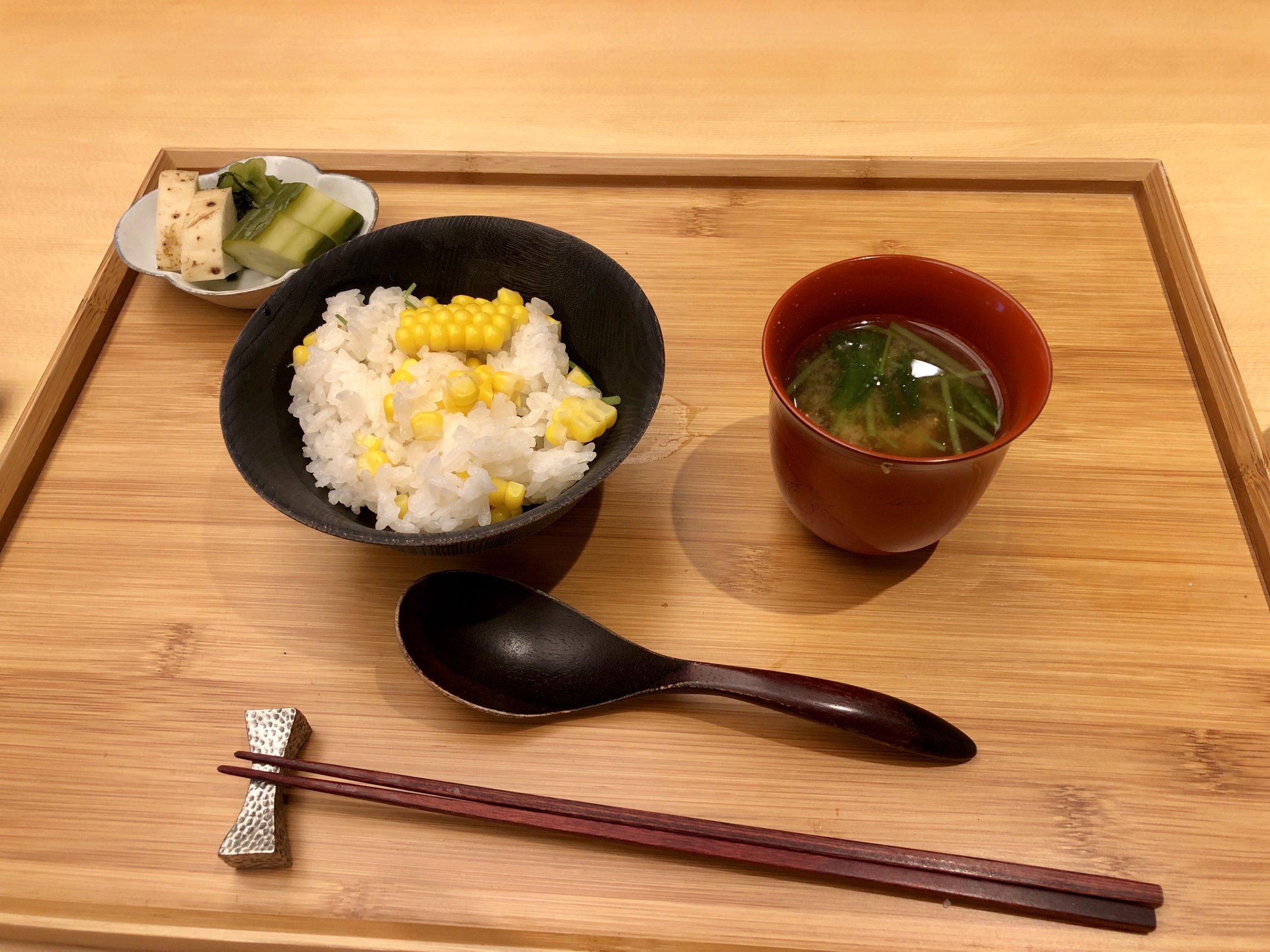 Gohan, Ko no mono, Tome wan 御飯、 香の物、 止椀 Rice, pickled vegetables, miso soup